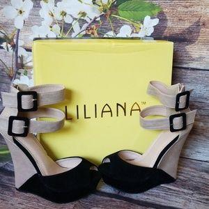 Liliana Monaco Two Tone Strappy Peep Toe Wedges